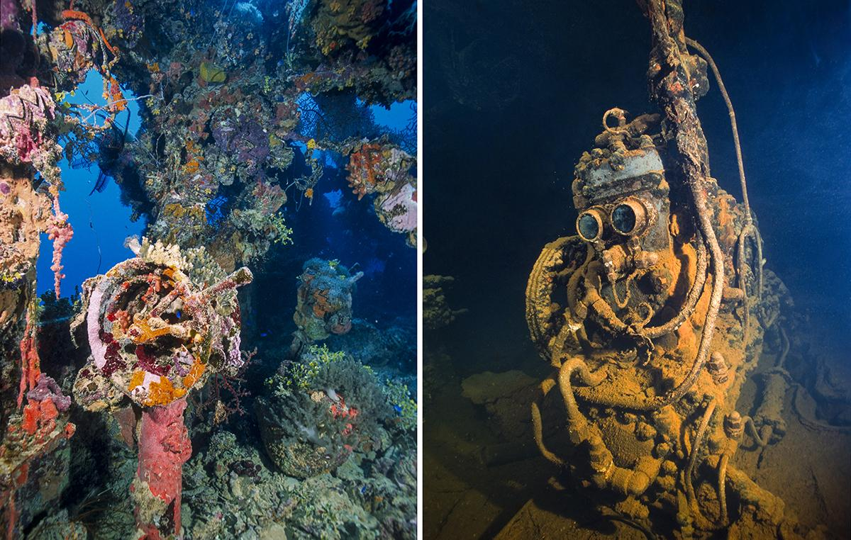 A ship's telegraph (left) and the air compressor nicknamed R2-D2 down in the engine room of the Fujikawa Maru.