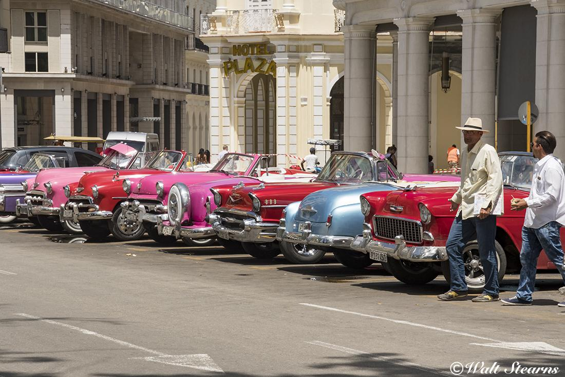 A collection of American made automobiles from the 1950's in downtown Havana, Cuba