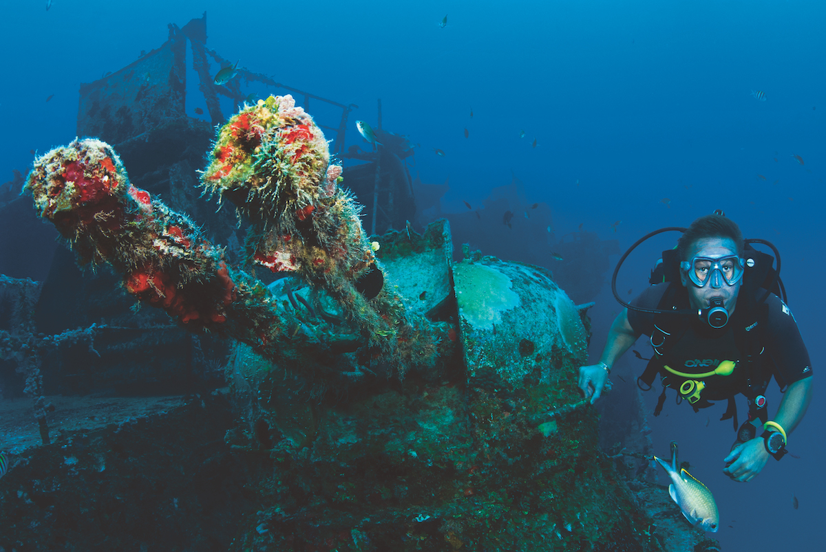 Wreck diving in the Caribbean.
